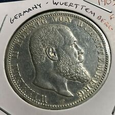 1903-F GERMANY WUERTTEMBERG SILVER 5 MARKS CROWN COIN