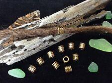 Brass Dreadlock Beads 10 x Tribal Style 4.5mm Hole Ethnic Dotwork Raised Pattern