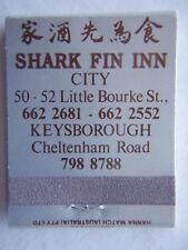 SHARK FIN INN CITY 6622681 KEYSBOROUGH 7988788 SILVER BLK WHT MATCHBOOK