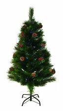 SALE 5ft 1.5m Green Needle Fibre Optic Artificial Christmas Tree With Metal Base