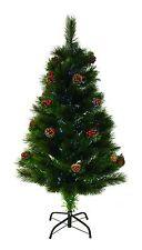 SALE 4ft 120cm Green Needle Fibre Optic Artificial Christmas Tree Metal Base