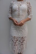 Dark Pink White Embroidery Midi Lace Wedding Evening Party Dress 8 36 US 4 New