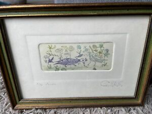 GUILLERMO SILVA Rare 1959 Hand-Colored Etching A/74 Jardin Signed 3 3/8 X 1 3/8