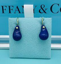 Tiffany & Co 18K Elsa Peretti Lapis Lazuli Cabochon Teardrop Dangling Earrings