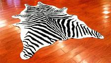 Zebra Area Rug Large Tricolor Cowskin Faux Cow Hide Leather Carpet 7.9'x5.6'