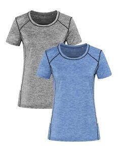Femmes Bleu Ou Gris Acceptable Recyclé SPORTS Athlétique T-Shirt Reflets