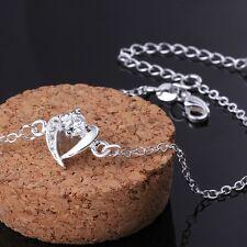 Sterling Silver 925 Heart Crystal Anklet Adjustable Free Gift Bag