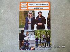 CARTE FICHE CINEMA 2012 DAVID ET MADAME HANSEN Isabelle Adjani Alexandre Astier