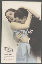 MB7186 HOT EMBRASSING LOVECOUPLE  KISSING THE BREASTS RPPC HAND. COL