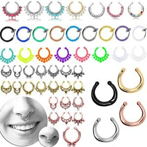 Fake Septum Ring body bar piercing horseshoe nose eyebrow lip barbell Rhinestone