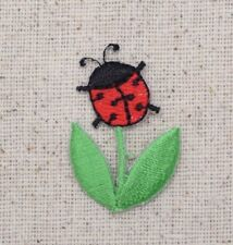 Small/Mini Ladybug Red/Black Flower/Leaves - Iron on Applique/Embroidered Patch