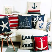 Nautical Boat Cushion Covers! Retro Navy Blue Vintage Yacht Anchor Sea Ship 45cm