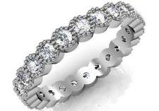 1.8 ct natural G Vs2 round diamond women eternity bezel milgrain wedding ring