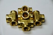 Brass Fittings: Brass Tee Forged Female Pipe Size 1/4, QTY 5