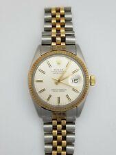 Genuine Rolex Datejust Quickset Mens Running 14k Gold SS Watch 16013