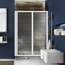 Porta doccia scorrevole per nicchia 130cm pvc riducibile profilo bianco acrilico