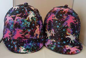 RIDING HAT COVER - SPACE PONIES - MULTI COLOURS - BLACK, PINK, PURPLE ETC