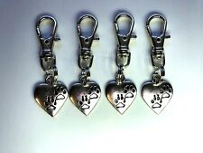 charms puppy feet heart zipper pull backpack dog silver tone fun gift #61
