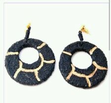Gorgeous designer black and gold disc large earrings