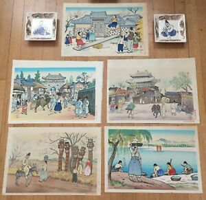 JAPANESE WOODBLOCK PRINTS(5) & PAINTED CERAMIC PLATE(2) BY HIYOSHI MAMORU(1885-)