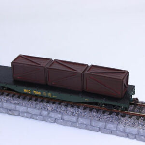 6pcs Model Railway Rectangular 1:87 HO Scale Container Carriage Freight Cars