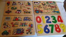 Lot de 4 Puzzles en bois Animaux de la ferme, Chiffres, etc