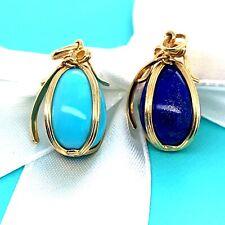 Authentic Tiffany & Co Schlumberger Studio 18k Yellow Gold Egg Charm Pendant
