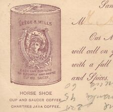 Leege & Mills Horse Shoe Java Coffee Cup Saucer Gimmick San Francisco Card 7m