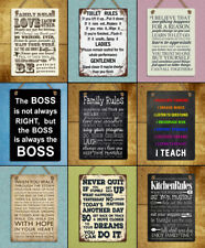 Metal Hanging signs plaques retro style Family Toilet Kitchen Rules wall decor