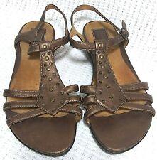 Clarks Artisan Leather Bronze Studded Ankle Strap Sandals Women sz 10M 85463