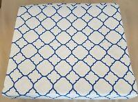 RARE Charter Club Damask Designs Geo White Blue Twin FLAT Sheet
