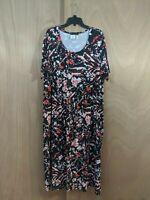 ULLA POPKEN Womens Plus Size 16/18 Black Orange White Floral A-Line Fit Dress