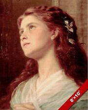 BEAUTIFUL GIRL YOUNG WOMAN PRAYING OIL PAINTING ART REAL CANVAS GICLEEPRINT