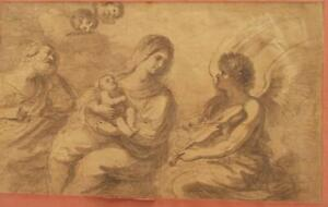 17th CENTURY ETCHING STRONG CLEAR PRINT 'MADONNA & CHILD WITH ANGEL CHERUBS  LS