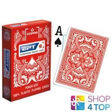 COPAG EPT EUROPEAN POKER TOUR JUMBO INDEX 100% PLASTIC POKER CARDS DECK RED NEW