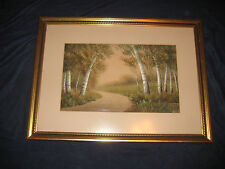 ORIGINAL WORK W. J. VAN HORN SIGNED PAINTING ANTIQUE BIRCH TREES ALONG ROAD