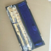 Excellent French Flute with Case 16 Open Holes Band C Concert Gold Plating
