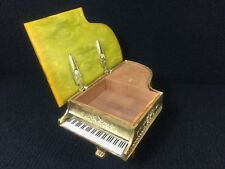 Beautiful Antique Working Brass Piano Music Box Faux Marble Top 1940'S