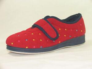 EE Pantofole da Donna Extra Larghe Colore: Blu Denim Padders Camilla con Chiusura a Tocco