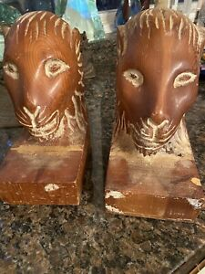 CARVED WOODEN LION HEAD BOOKENDS