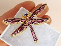 Dragonfly brooch purple white blue enamel crystal vintage style pin in gift box