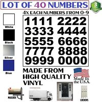Lot of 40 White,Black, Silver Vinyl Mailbox,Tool Box,Locker Numbers Decal Arial