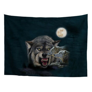 """Wolf Pattern Fabri Tapestry Home Decor Wall Hanging Classical Office Boys 51x60"""""""