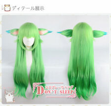 "LOL Lulu Star Guardian League of Legends 31"" Long Green Cosplay Wig With Ears"