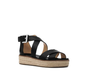 NIB New Michael Kors Darby Leather Sandal Black 10 M US