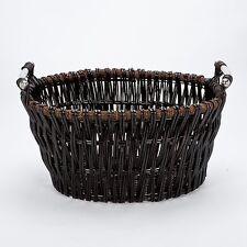 Inglenook FIRE200 Dark Wicker Log Basket With Chrome Handles