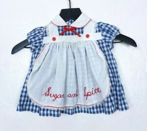 Vintage Little Girls Blue/White Gingham Apron Front Sugar and Spice Dress 6-12MO
