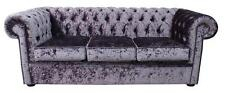 Chesterfield 3 Seater Senso Fondant Crushed Velvet Fabric Sofa Settee
