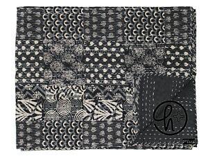 Kantha Quilt Black Twin Size Cotton Indian Bedspread Patchwork Bohemian Bedsheet
