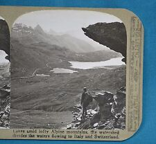 Swiss Stereoview Photo Lakes Amid Lofty Alpine Mountains Realistic